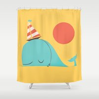 hat Shower Curtains featuring Party Hat by Jay Fleck