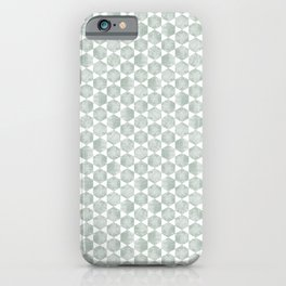 Gray Green and White Hexagonal Block Print Pattern iPhone Case