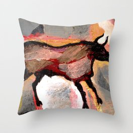 The Cave Bull Throw Pillow