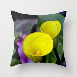Two yellow callalilies Throw Pillow
