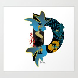 D (Initial  Series A-Z)  Art Print
