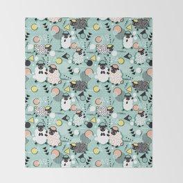 Mééé Memphis sheep // mint background Throw Blanket