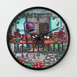 Spiders on the balcony Wall Clock
