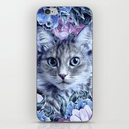 Cat In Flowers. Winter iPhone Skin