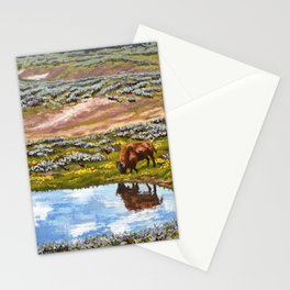 Yellowstone Reflections, American Bison Western Landscape Painting Stationery Cards