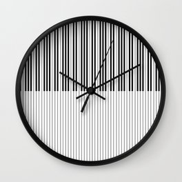 The Piano Black and White Keyboard Stripes with Vertical Stripes Wall Clock