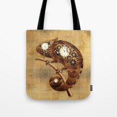Steampunk Chameleon Vintage Style Tote Bag