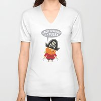 jack sparrow V-neck T-shirts featuring Jack Sparrow is a PUSSY by Illuzak