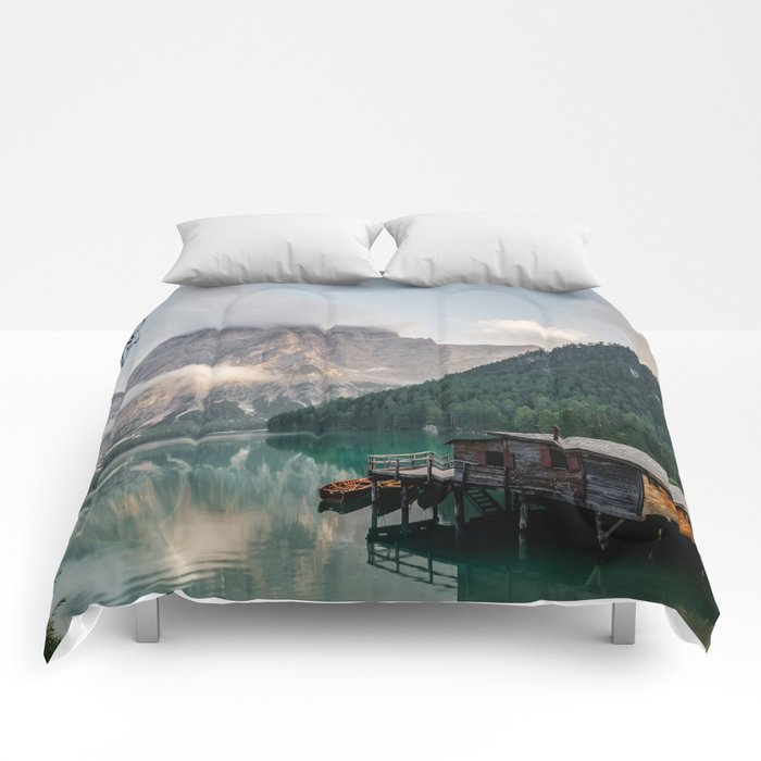 Mountain Lake Cabin Retreat Comforters