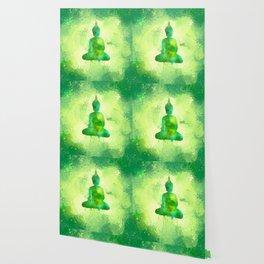 Green Watercolor Buddha Painting Wallpaper