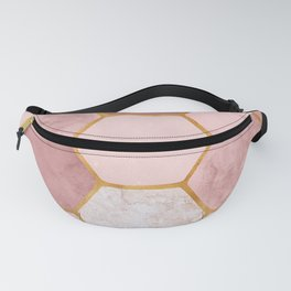 Pink and Gold Hexagon Print Fanny Pack
