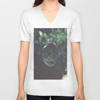 snow V-neck T-shirts featuring Snow Globe by Jane Lacey Smith