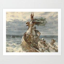Vintage Raiding Vikings Painting (1873) Art Print