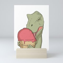 T-Rex licks the ice cream in the waffle  Mini Art Print