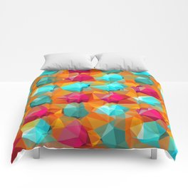 geometric polygon abstract pattern in orange pink green Comforters