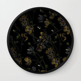 Poppy Floral - Black Wall Clock