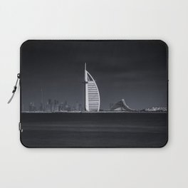 Panoramic View of Dubai Skyline in Black and White Laptop Sleeve