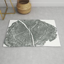 Locust Tree ring image, woodcut print Rug