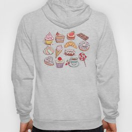 Hand drawn confectionery croissant Cupcake candy ice cream cake donut and coffee Hoody