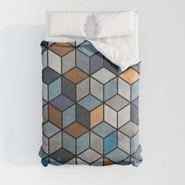 Colorful Concrete Cubes - Blue, Grey, Brown Comforters