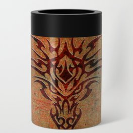 Tribal Dragon Head In Octagon With Dragon Chinese Characters Can Cooler