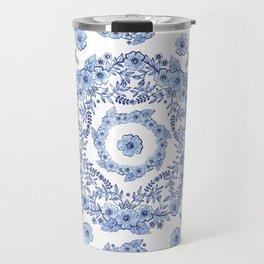 Blue Rhapsody on white Travel Mug