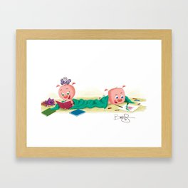Pigs and a Blanket: Reading and Drawing. Framed Art Print