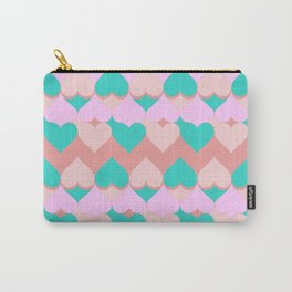 Multi Hearts Pink Teal Dogwood Carry-All Pouch