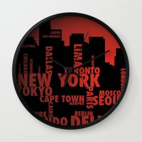 cities Wall Clocks featuring Cities by Colin Webber