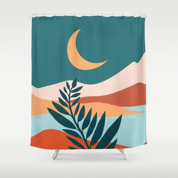 Moonlit Mediterranean / Maximal Mountain Landscape Shower Curtain