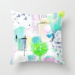 Peinture  tons pastels chat oiseau maisons arbre bulles Throw Pillow