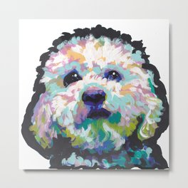 maltese poodle Maltipoo Dog Portrait Pop Art painting by Lea Metal Print