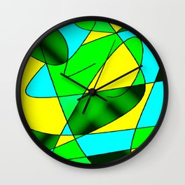 ABSTRACT CURVES #2 (Greens, Light Blue & Yellow) Wall Clock