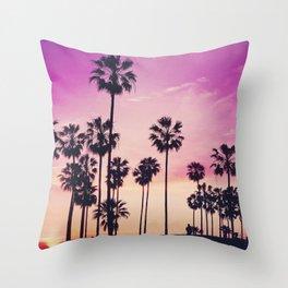 Sunset Palms Purple Tropical Sky Throw Pillow