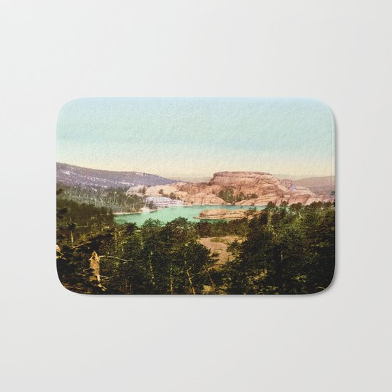 Forest mountains Lake Vintage Scenery Bath Mat