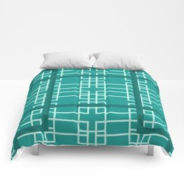 Midcentury Modern Geometric Turquoise Comforters