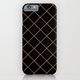 Sherwin Williams Cavern Clay SW7701 Thin Line Stripe Grid on Black iPhone Case