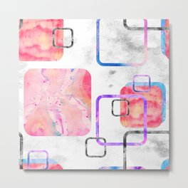 Watercolor Geometric Print Pattern Pink Contemporary Squares Metal Print