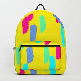 This Is Your Day yellow abstract painting mint green modern art lines pattern bright brush acrylic Backpack