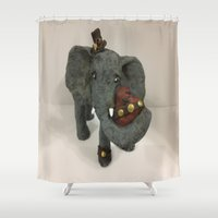 steam punk Shower Curtains featuring Steam Punk Elephant by Lily Dee Designs