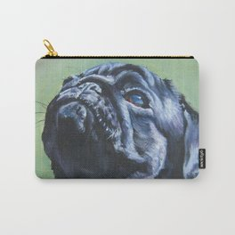 black PUG dog art portrait from an original painting by L.A.Shepard Carry-All Pouch
