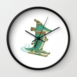 crocodile on skis Wall Clock