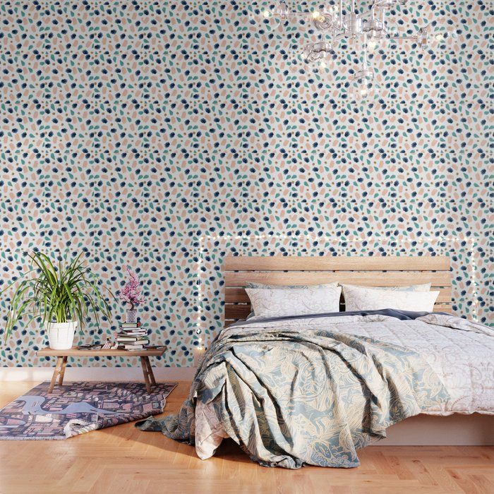 turquoise, navy, pink & gold Wallpaper by summersunhomeart