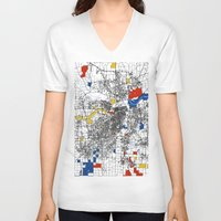 kansas V-neck T-shirts featuring Kansas City  by Mondrian Maps