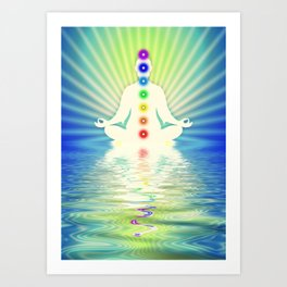 In Meditation With Chakras - Blue Ocean Art Print