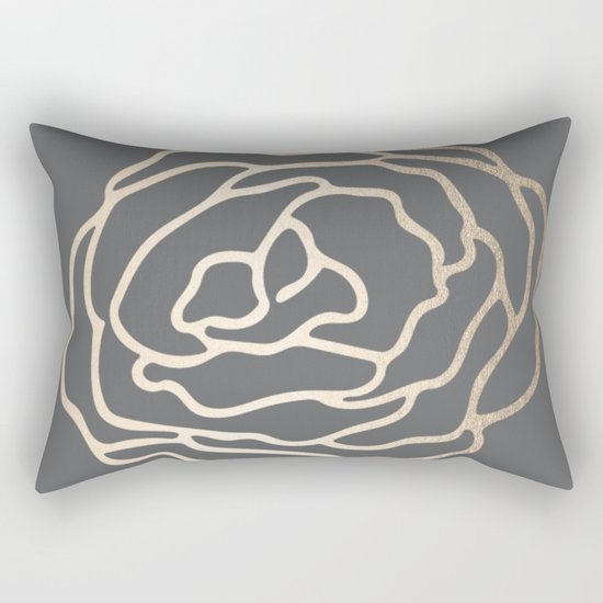 Rose White Gold Sands on Storm Gray Rectangular Pillow