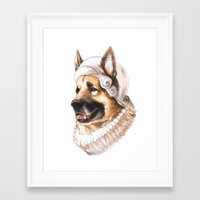 german shepherd Framed Art Prints featuring German Shepherd by Petty Portraits