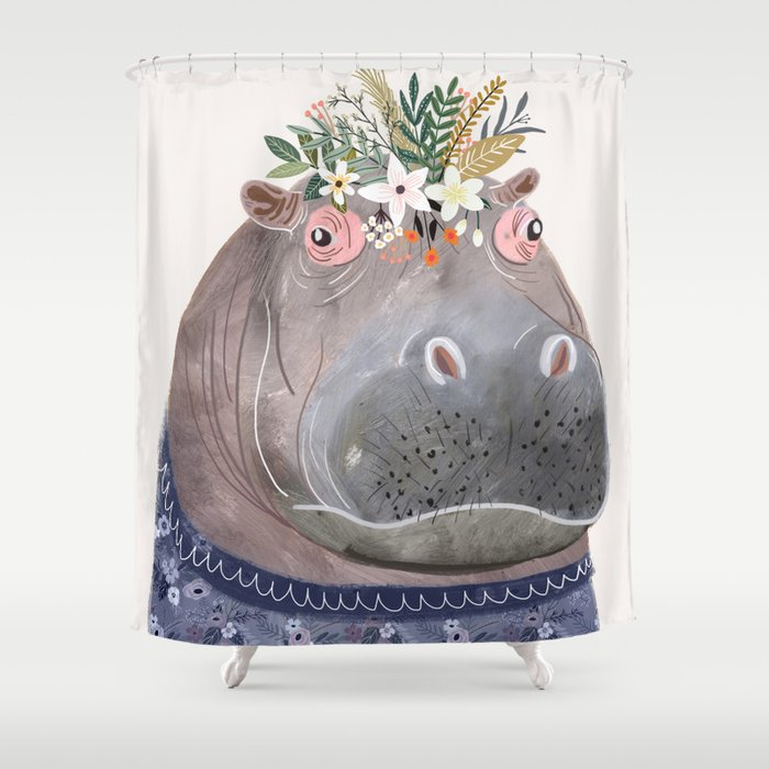 Hippo With Flowers On Head Shower Curtain