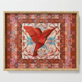 Crimson Hummingbird Vintage Velvet Boho Tapestry Print Serving Tray