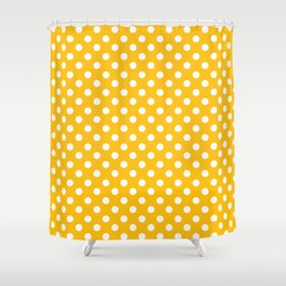 Amber Yellow and White Polka Dot Pattern Shower Curtain